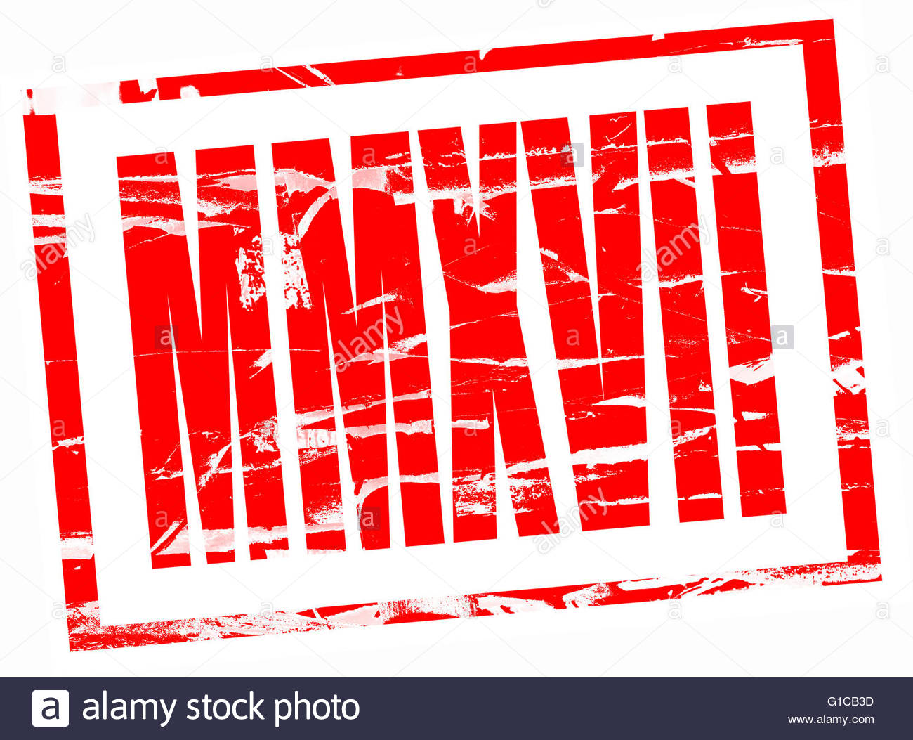 Red rubber stamp effect - 2017 in roman numerals MMXVII - Stock Image