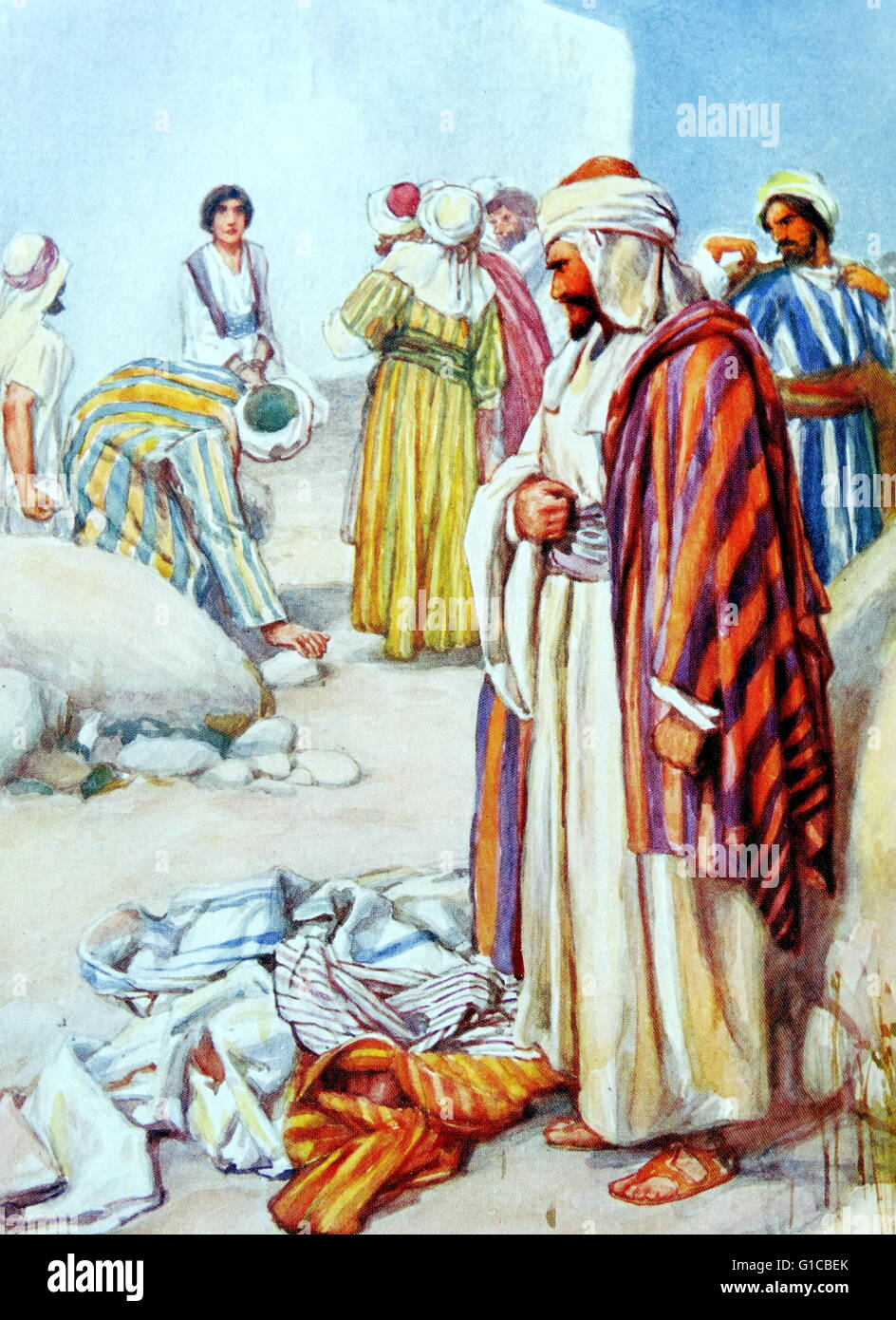 Painting depicting the stoning of St. Stephen. - Stock Image