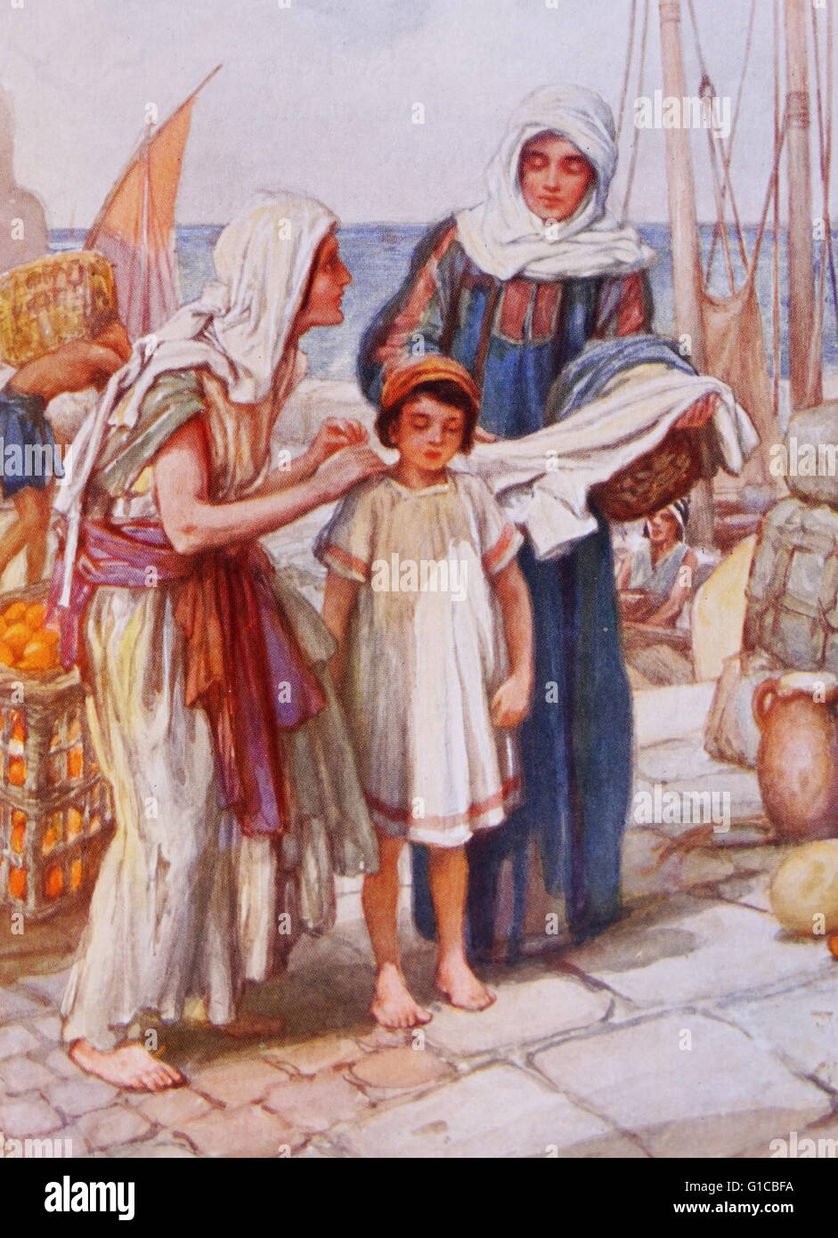 Painting depicting Dorcas giving help to a poor widow at Joppa - Stock Image
