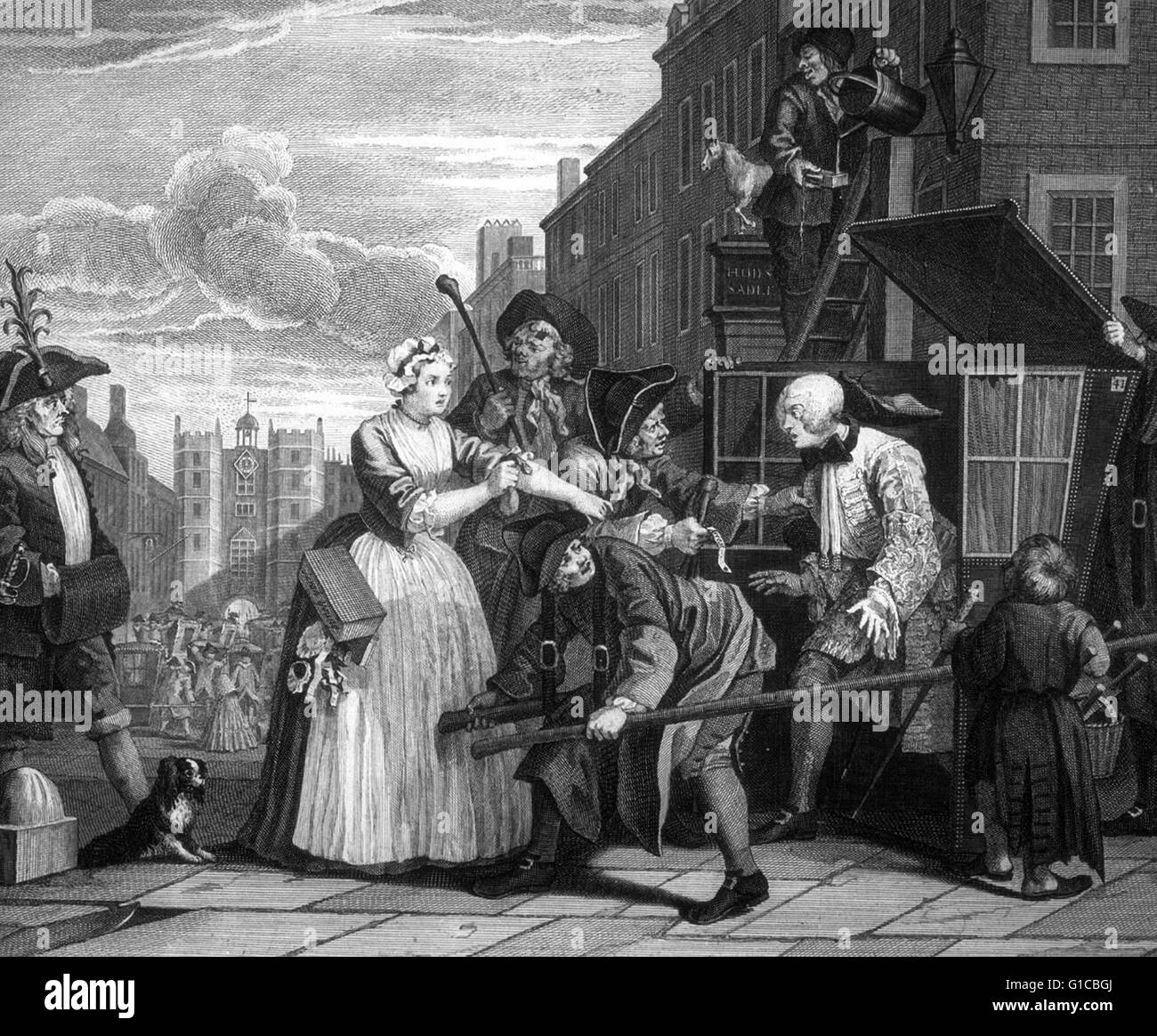 Arrested For Debt. from 'A Rake's Progress' 1735, By William Hogarth (1697 – 1764). English painter, - Stock Image