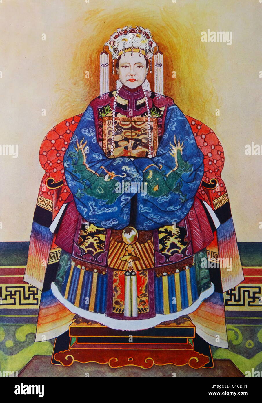 Painting of Empress Dowager Cixi (1835-1908) a Chinese empress dowager and regent who effectively controlled the - Stock Image