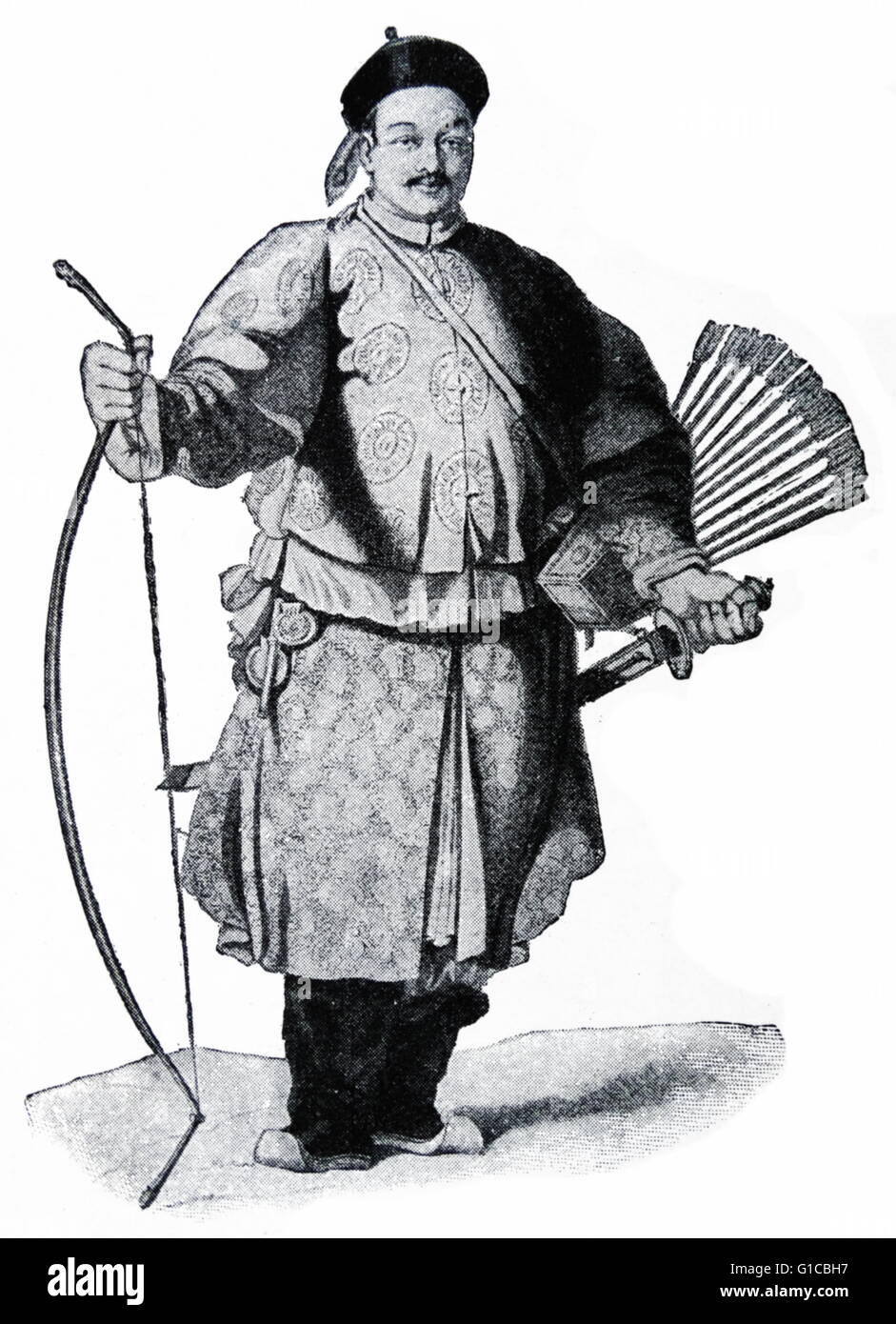 Engraving depicting a soldier of the Archery Corps - Stock Image