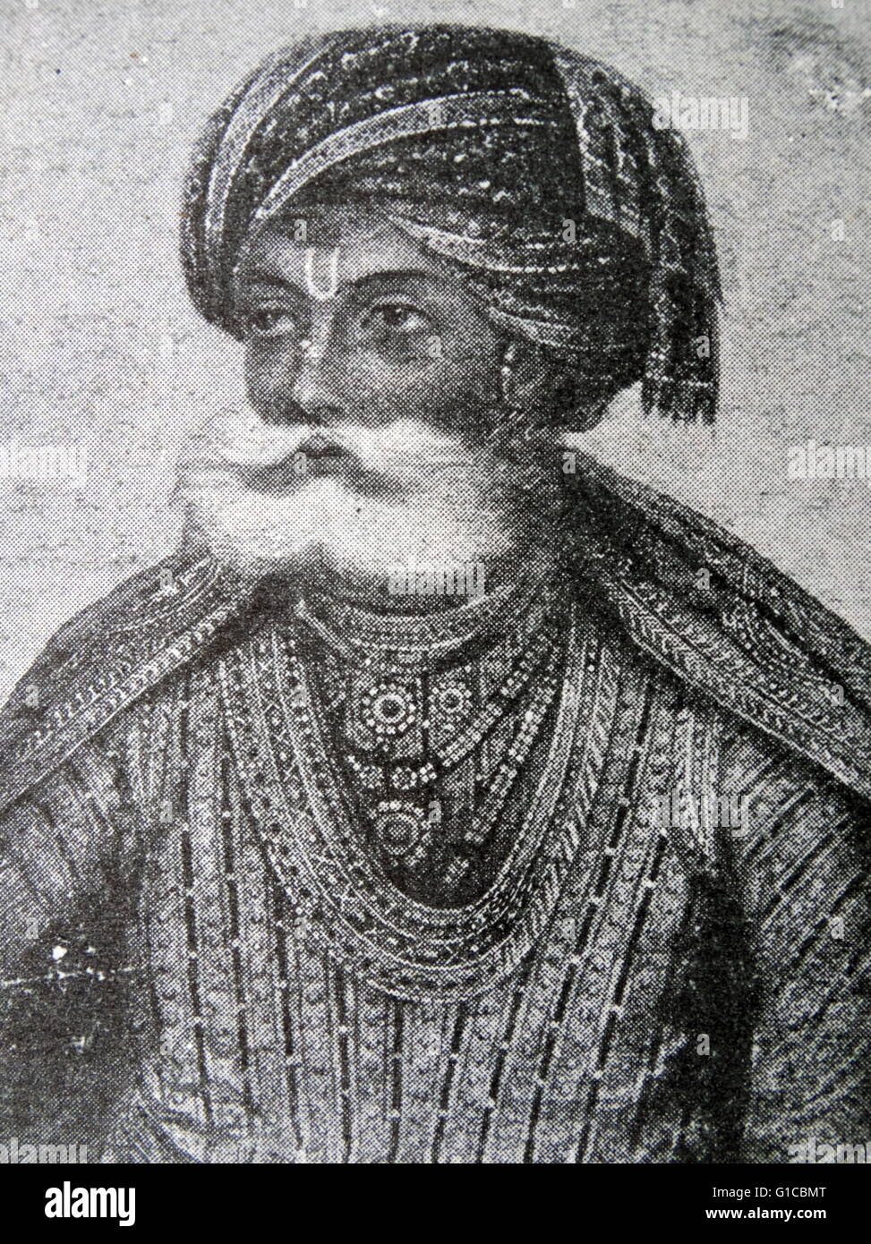 Portrait of Akbar the Great (1542-1605) Mughal Emperor. Dated 17th Century - Stock Image