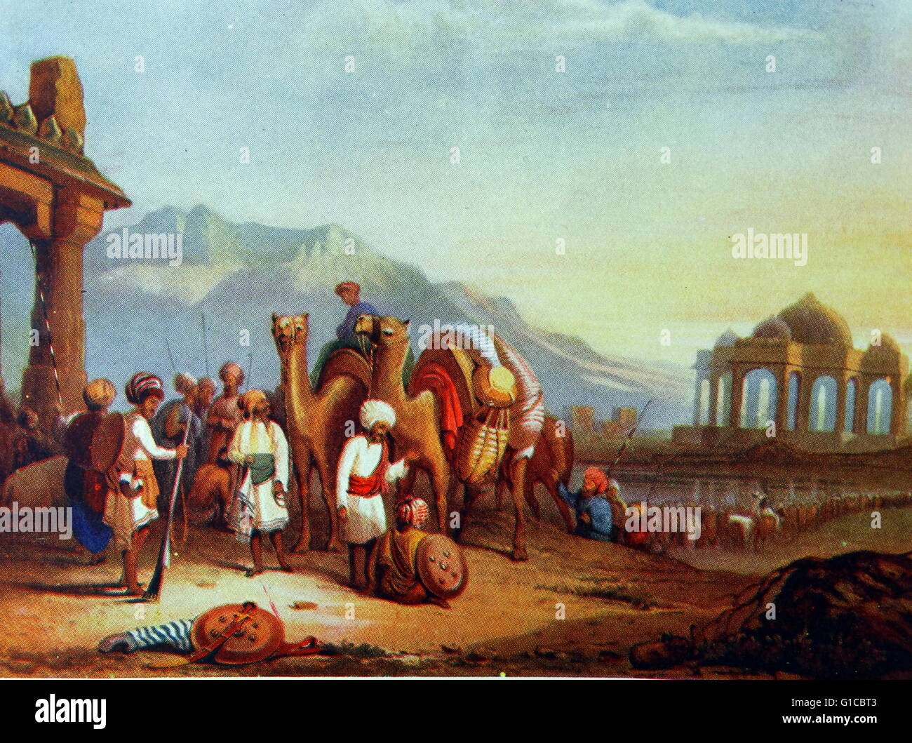 early nineteenth century caravan of merchants with camels. Kathiawar, in western India, - Stock Image