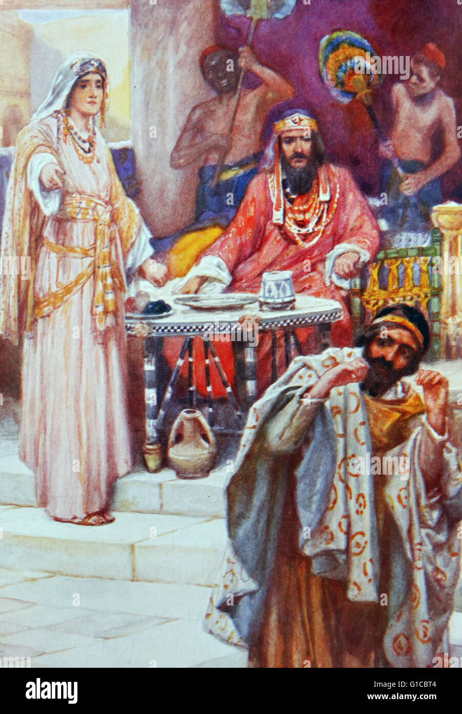 Haman accused by Queen Esther of plotting to kill the Persian Jews. Haman the Agagite described in the old testament, - Stock Image