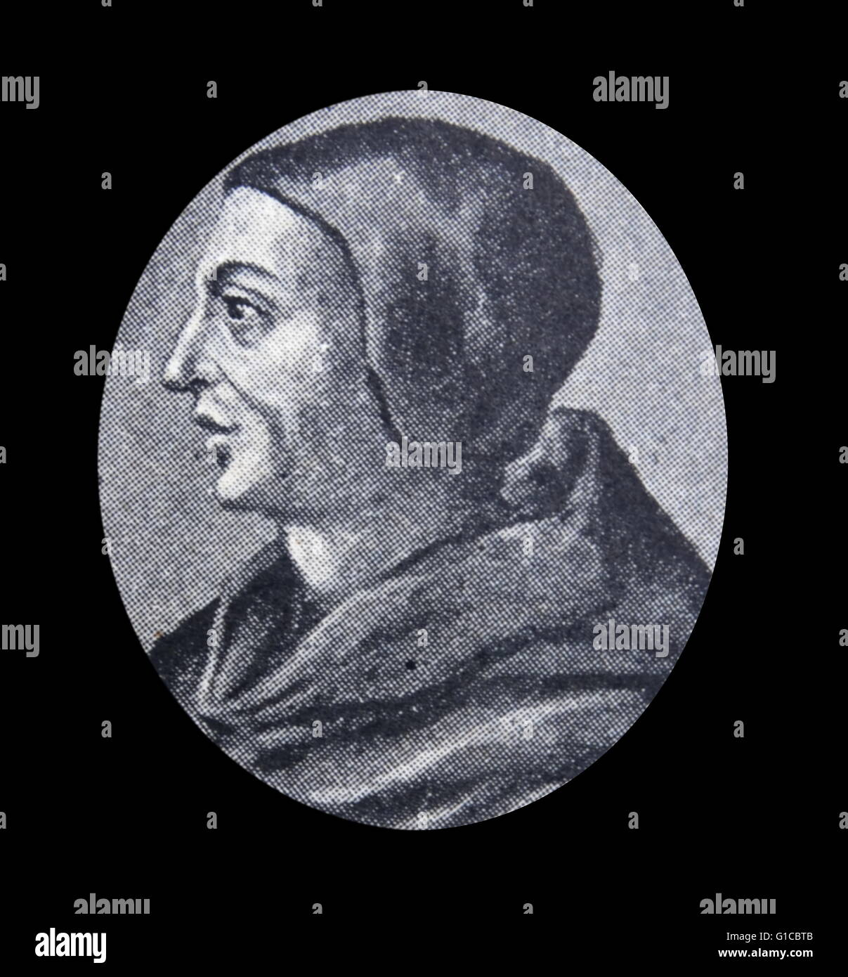 Portrait of Duns Scotus, philosopher-theologians of the High Middle Ages. Dated 12th Century - Stock Image