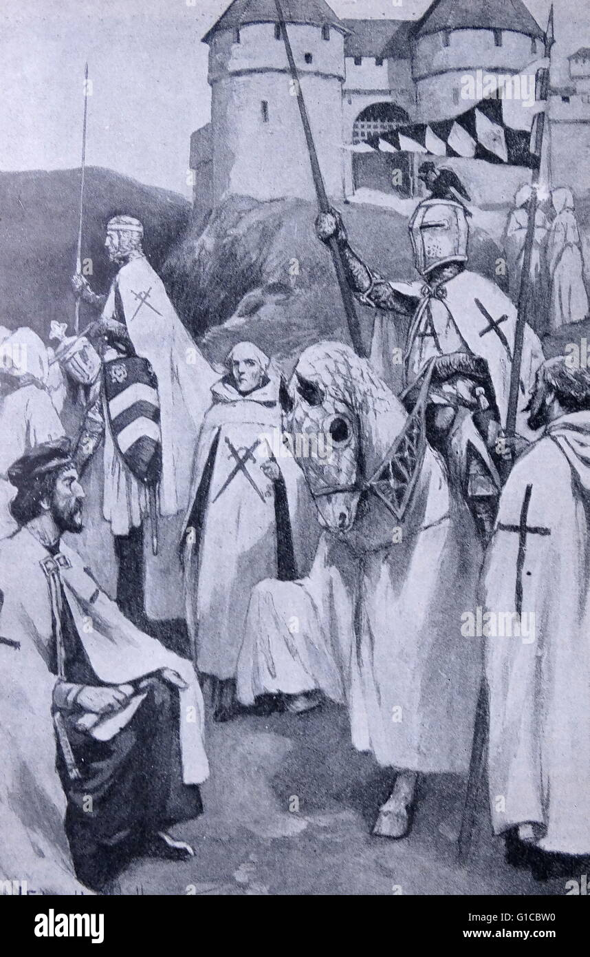Engraving depicting the Knights of the sword and knights of the Teutonic Order - Stock Image