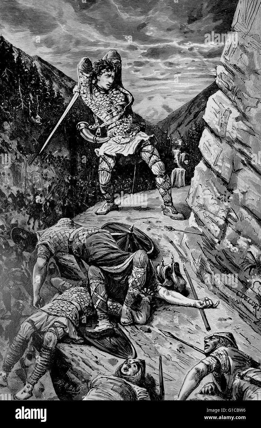 Engraving depicting Roland, the Hero of the National Epic of France - Stock Image