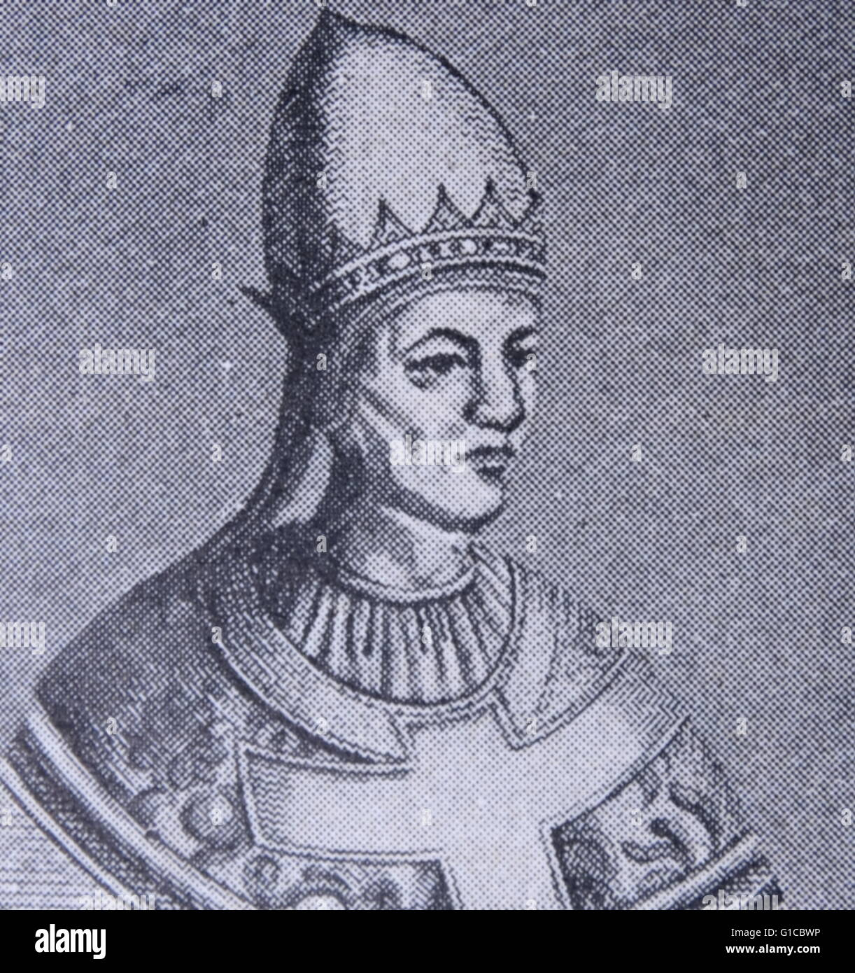 Portrait of Pope Gregory VII (1020-1085) Saint Gregory VII, born Hildebrand of Sovana. Dated 11th Century - Stock Image