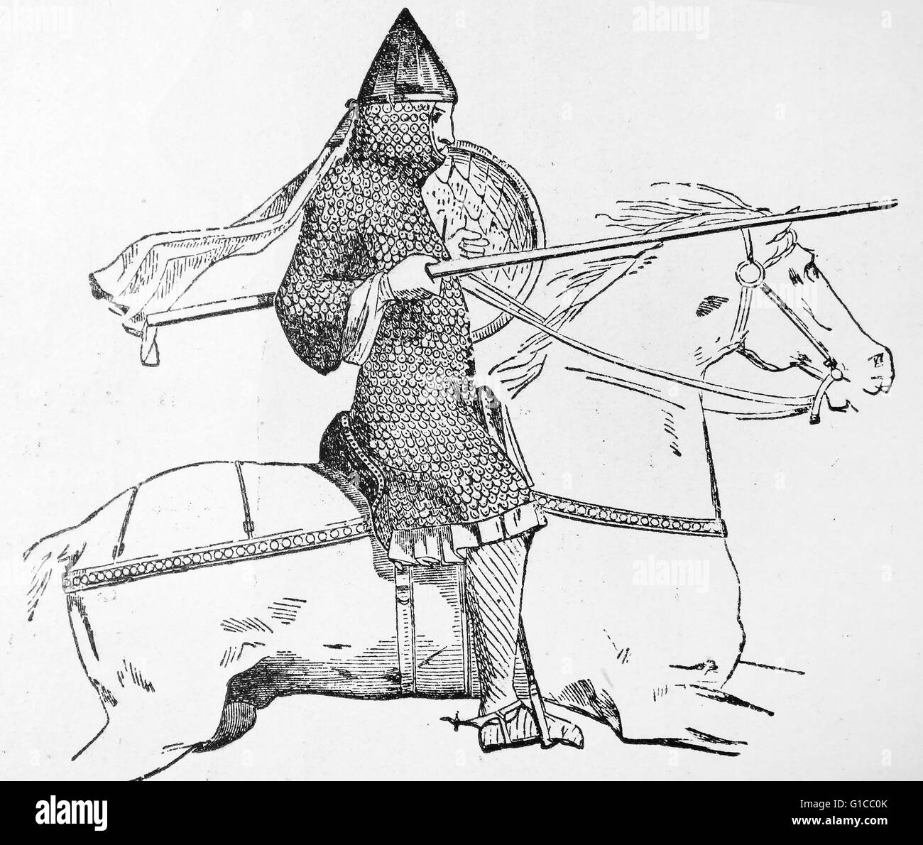 Engraving depicting a mounted knight of the 12th Century - Stock Image