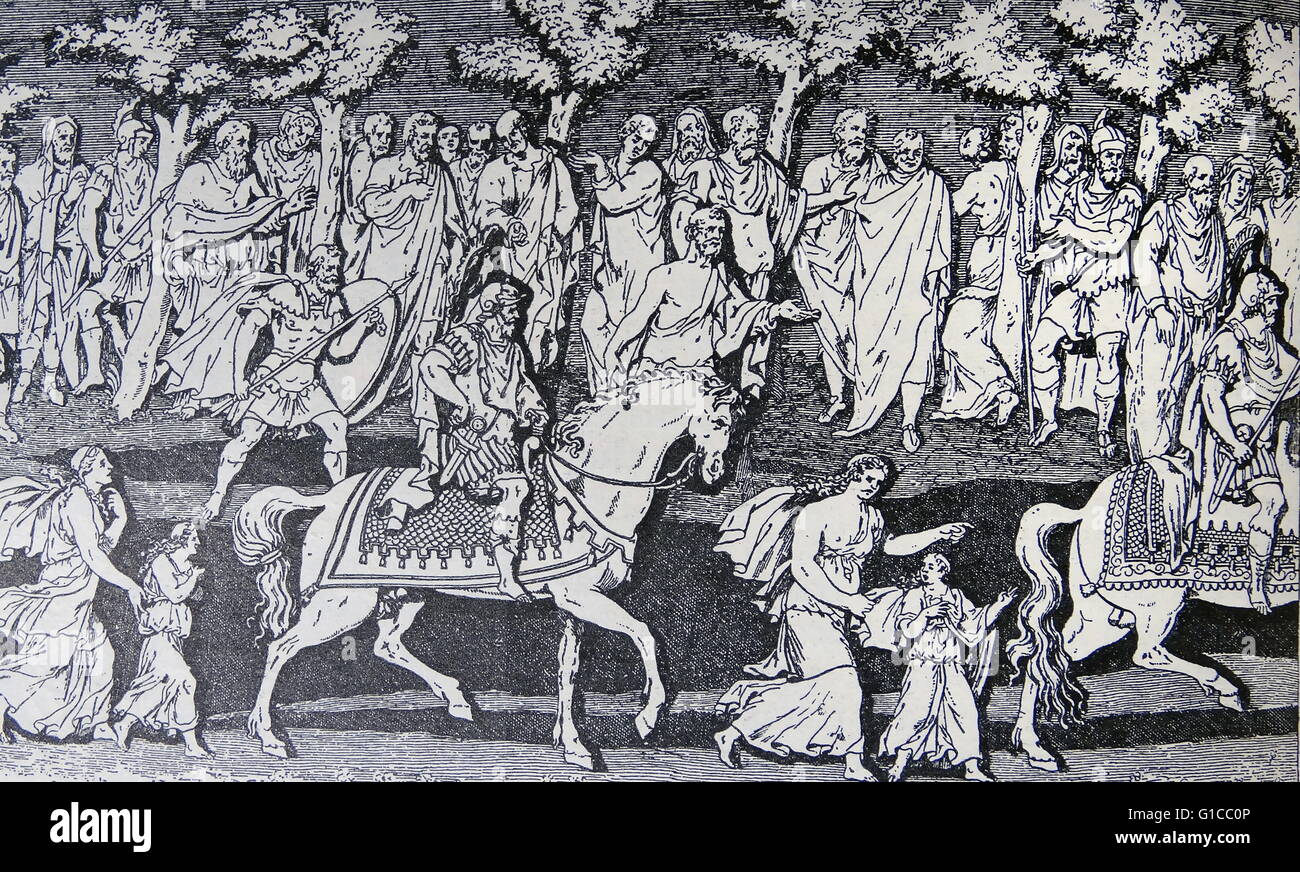 Engraving depicting the triumphal procession of Emperor Theodosius I into Rome - Stock Image