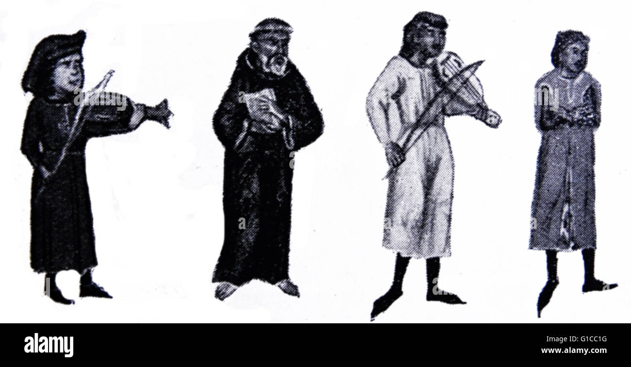 Engraving depicting a group of famous troubadours, composers and performers of Old Occitan lyric poetry during the - Stock Image