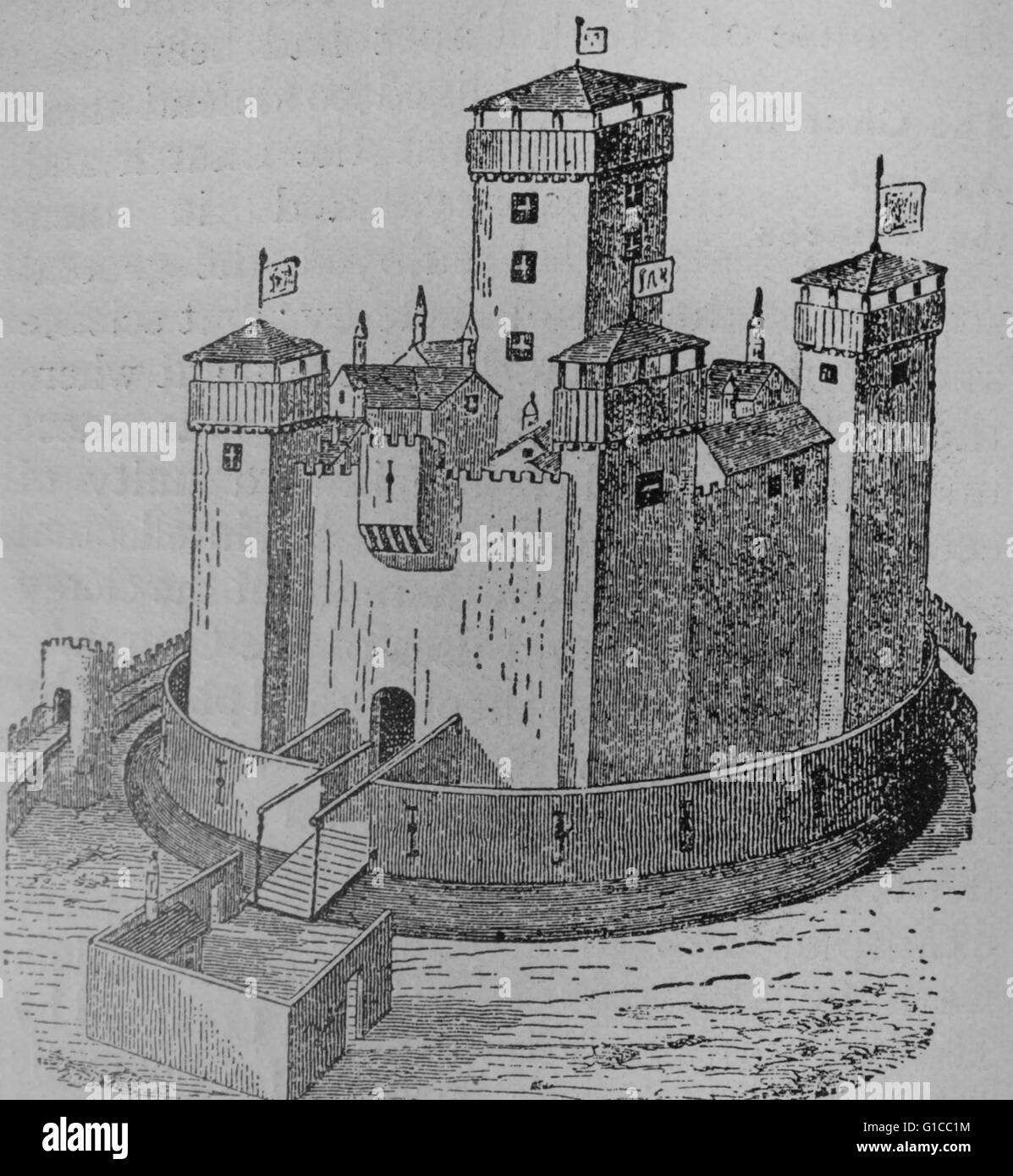 Engraving depicting a typical feudal castle of France. - Stock Image