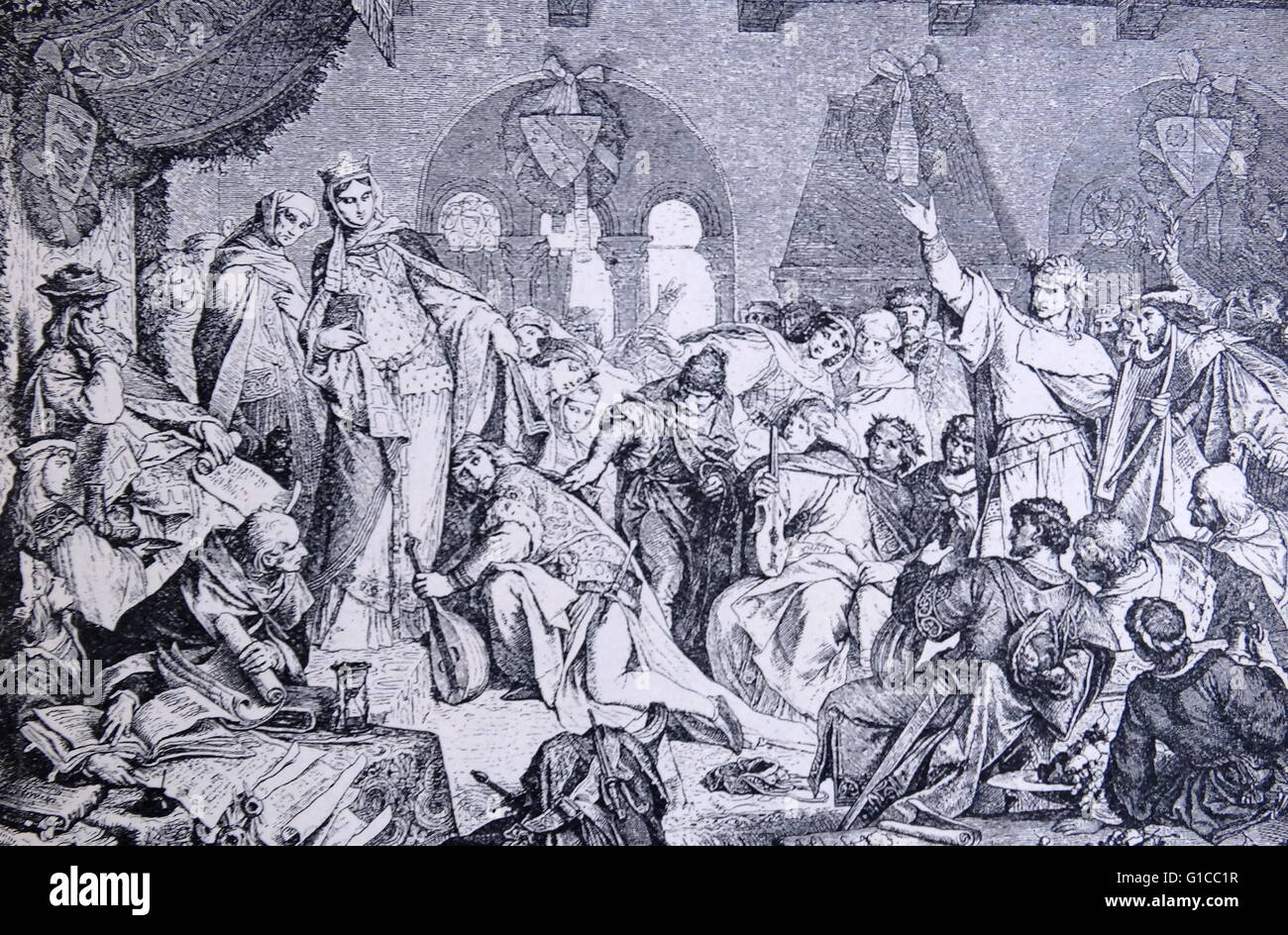 Engraving depicting a ballad-singing competition in the days of the troubadours, composers and performers of Old - Stock Image