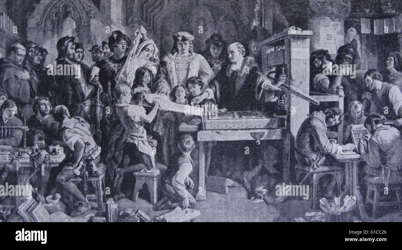 King Edward IV (1442-1483) of England visiting a printing office at Westminster - Stock Image