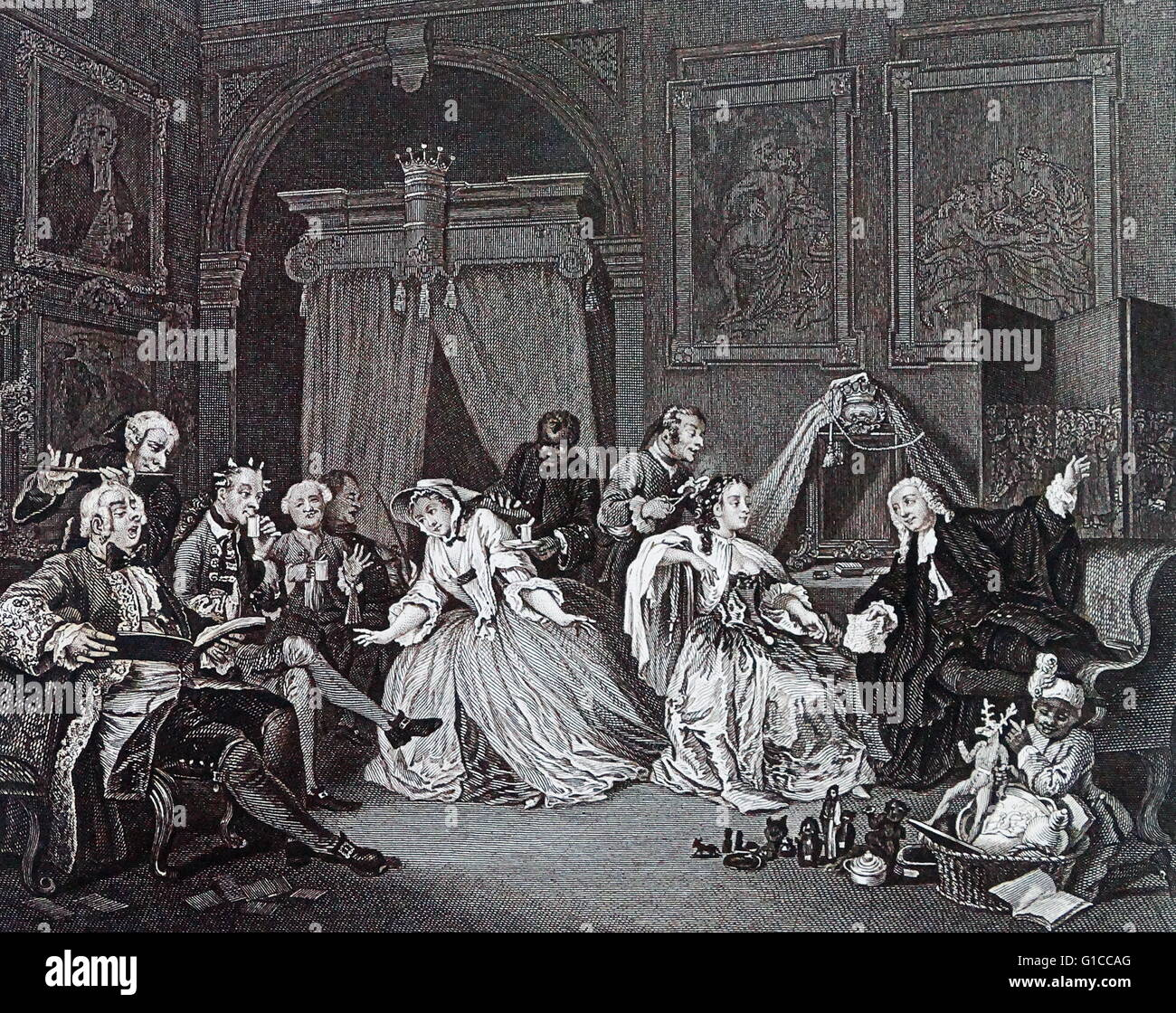 The Toilette from Marriage à-la-mode, 1743 - 1745; by William Hogarth. depicts The Countess sits with her back to Stock Photo