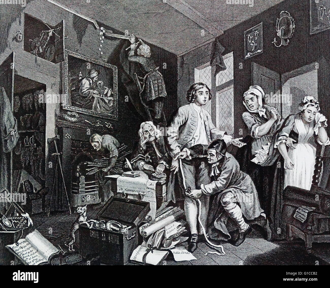 A Rake's Progress - Plate 1 - The Young Heir Takes Possession Of The Miser's Effects by William Hogarth - Stock Image