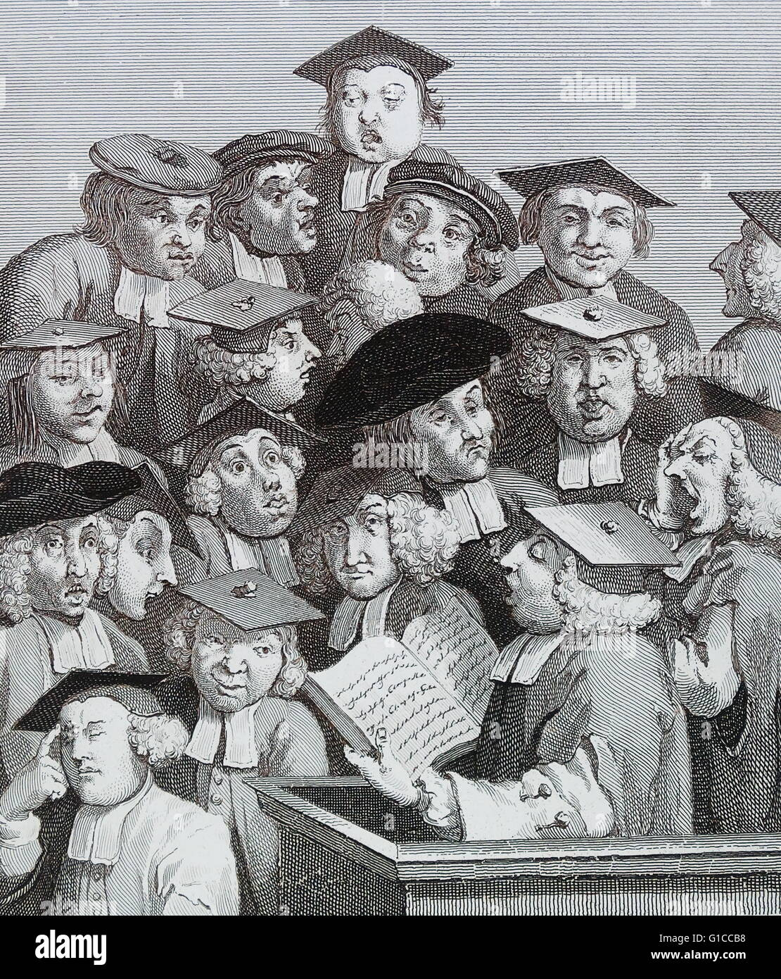 Scholars at a Lecture, by William Hogarth by William Hogarth (1697 – 1764). English painter, printmaker, pictorial - Stock Image