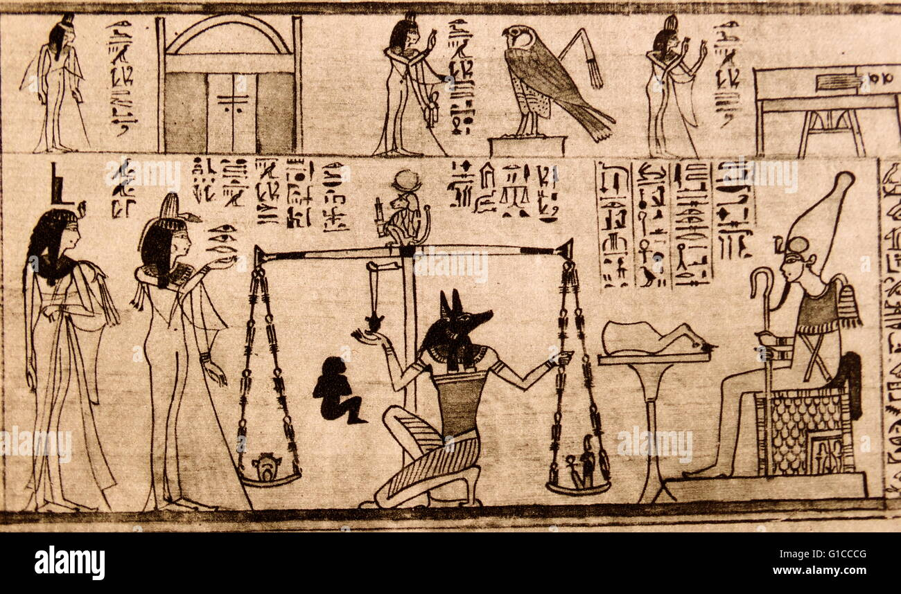 The ancient Egyptians believed that, when they died, they would be judged on their behaviour during their lifetime - Stock Image