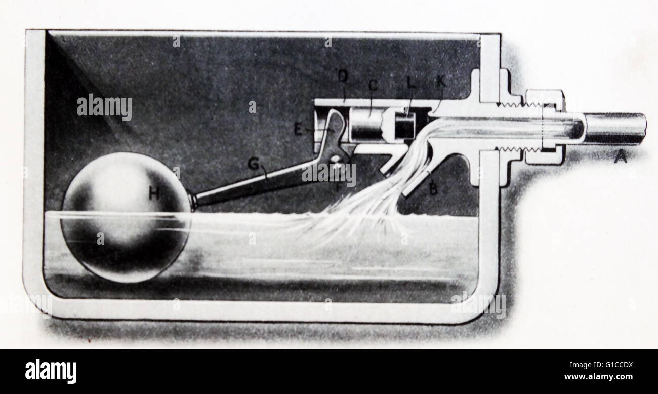Ball Cock Within A Toilet Cistern 1935 Cutaway Picture Stock Photo