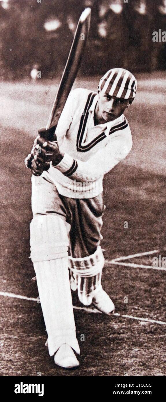 Cricket batsman in play, England, 1925 - Stock Image