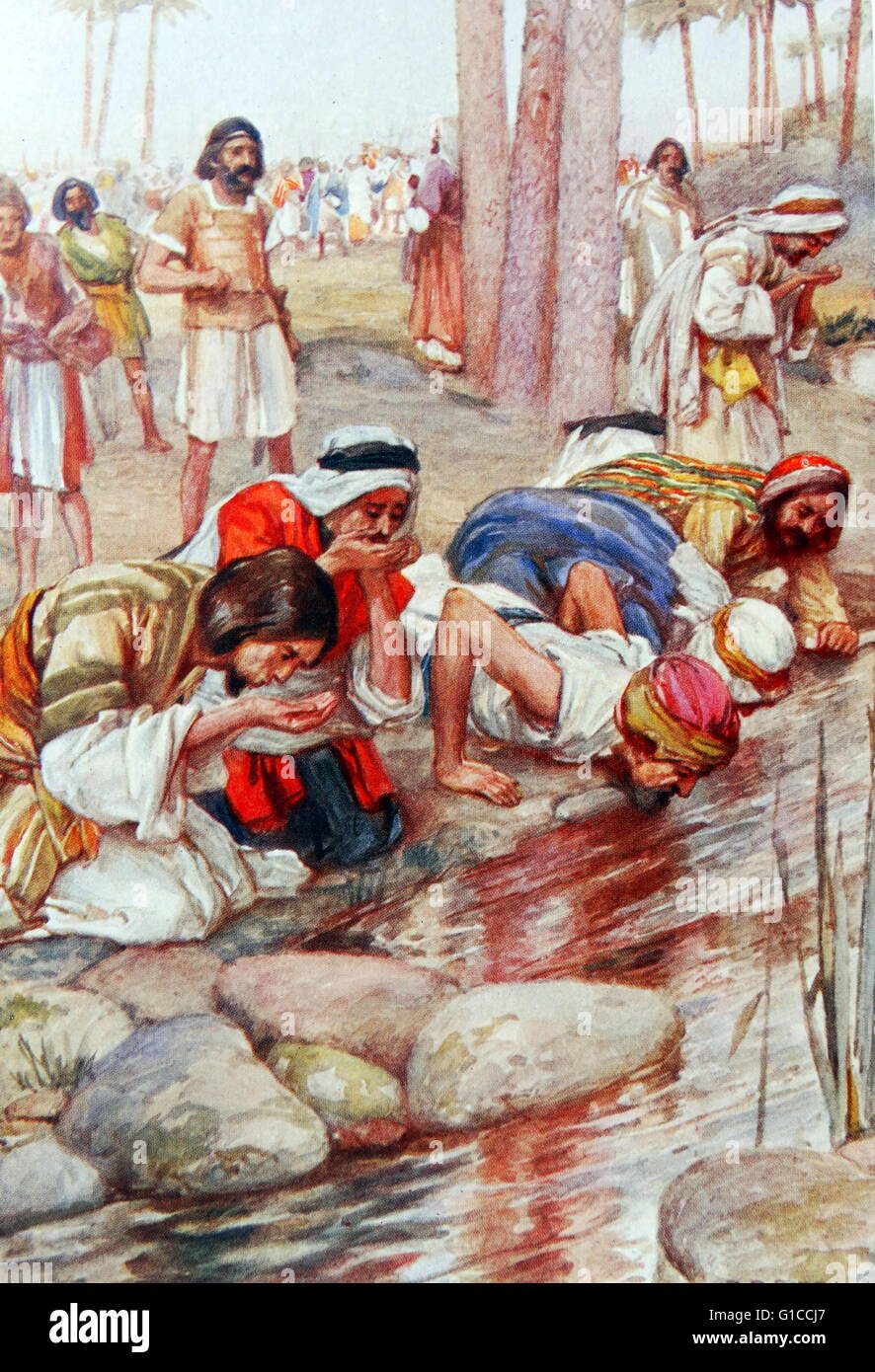 Gideon the Hebrew leader allows his soldiers to drink before battle. illustration by Arthur A. Dixon 1872-1959. - Stock Image