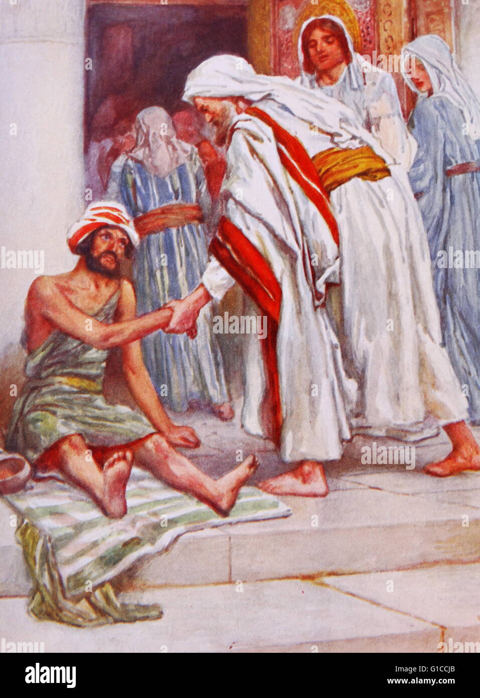 Jesus heals a lame man. illustration by Arthur A. Dixon 1872-1959. From the Precious Gift: Bible Stories for Children - Stock Image