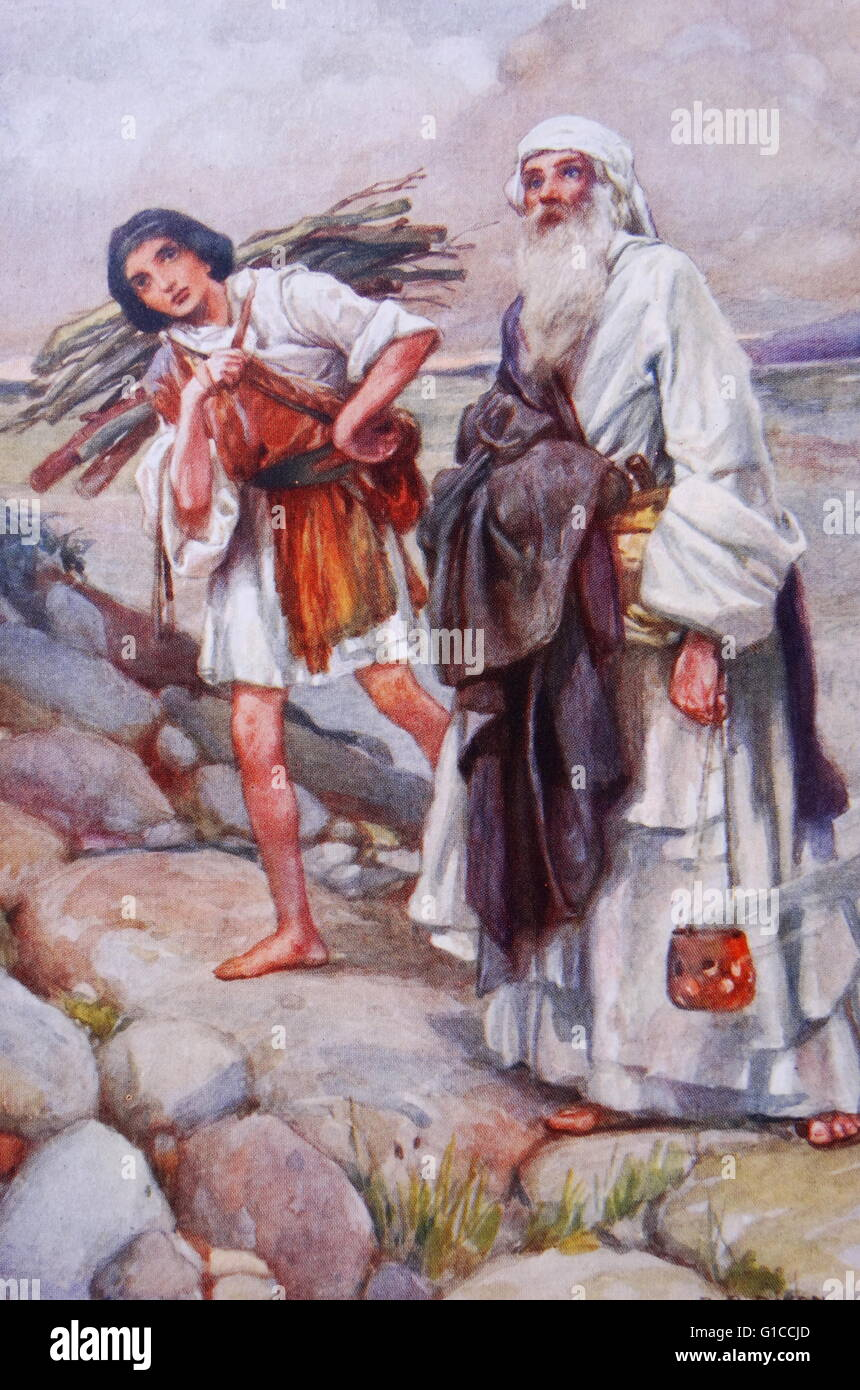 Abraham leads Isaac to the point of sacrifice. illustration by Arthur A. Dixon 1872-1959. From the Precious Gift: - Stock Image