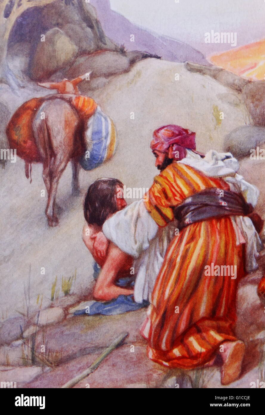The parable of the Good Samaritan illustration by Arthur A. Dixon 1872-1959. From the Precious Gift: Bible Stories - Stock Image