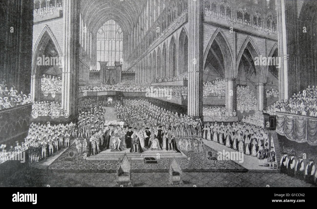 Coronation of King William IV and Queen Adelaide at Westminster Abbey - Stock Image