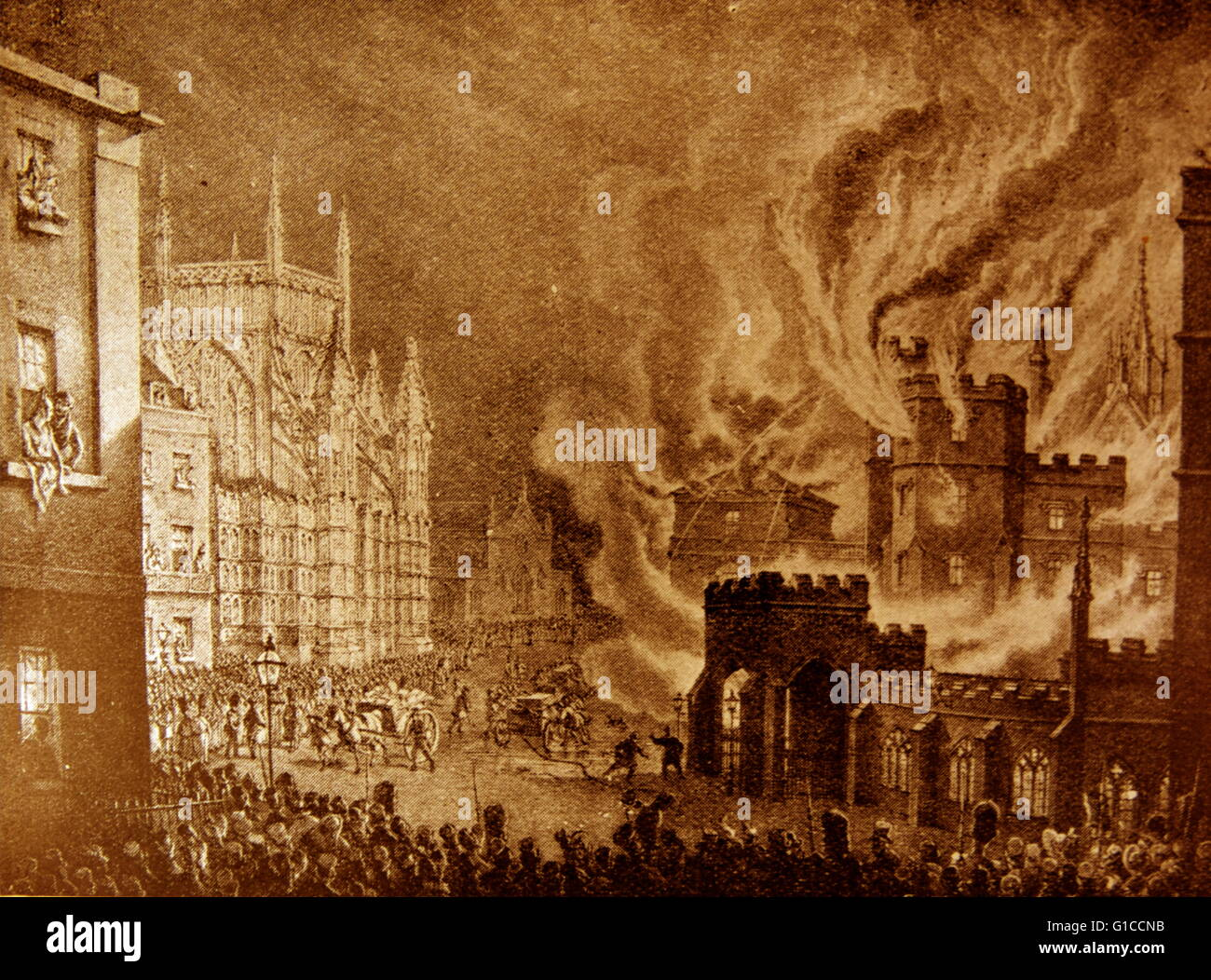Engraving depicting the destruction of the Houses of Parliament. Dated 1834 - Stock Image