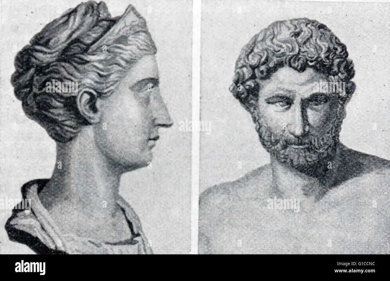 Busts of the Emperor Hadrian and his Wife Sabina - Stock Image