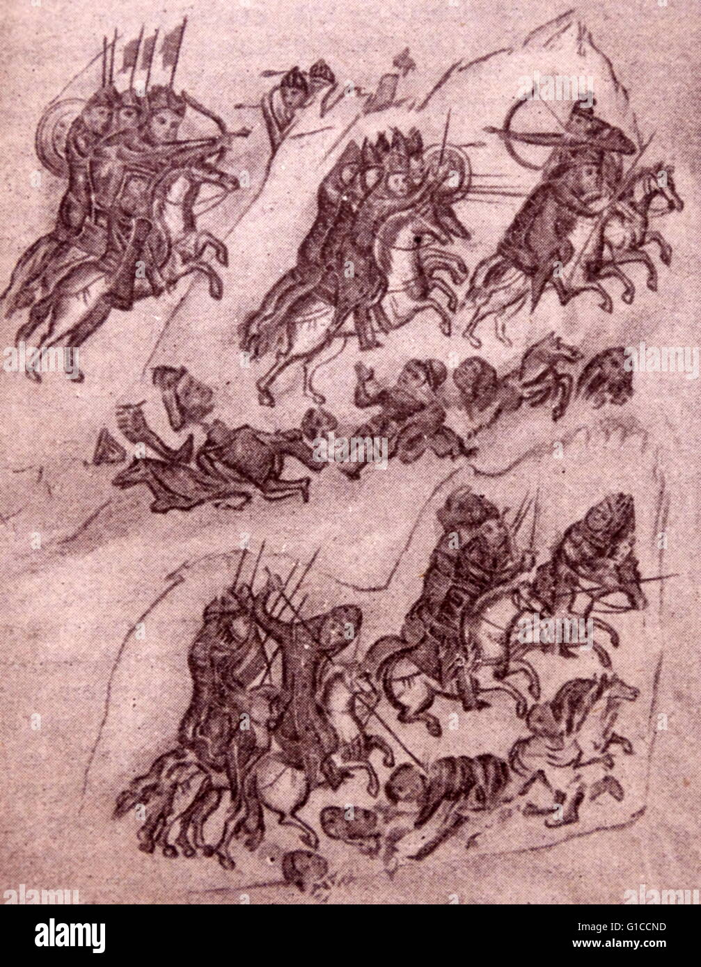 10th Century picture of a Bulgarian Route from an ancient Slavonian manuscript - Stock Image