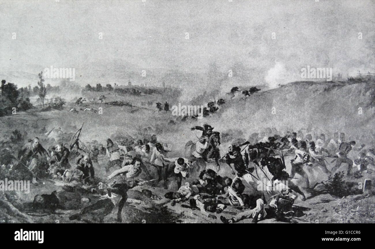 The Battle of Palestro was fought on 30/31 May 1859 between the Austrian Empire and the combined forces of the Kingdom - Stock Image