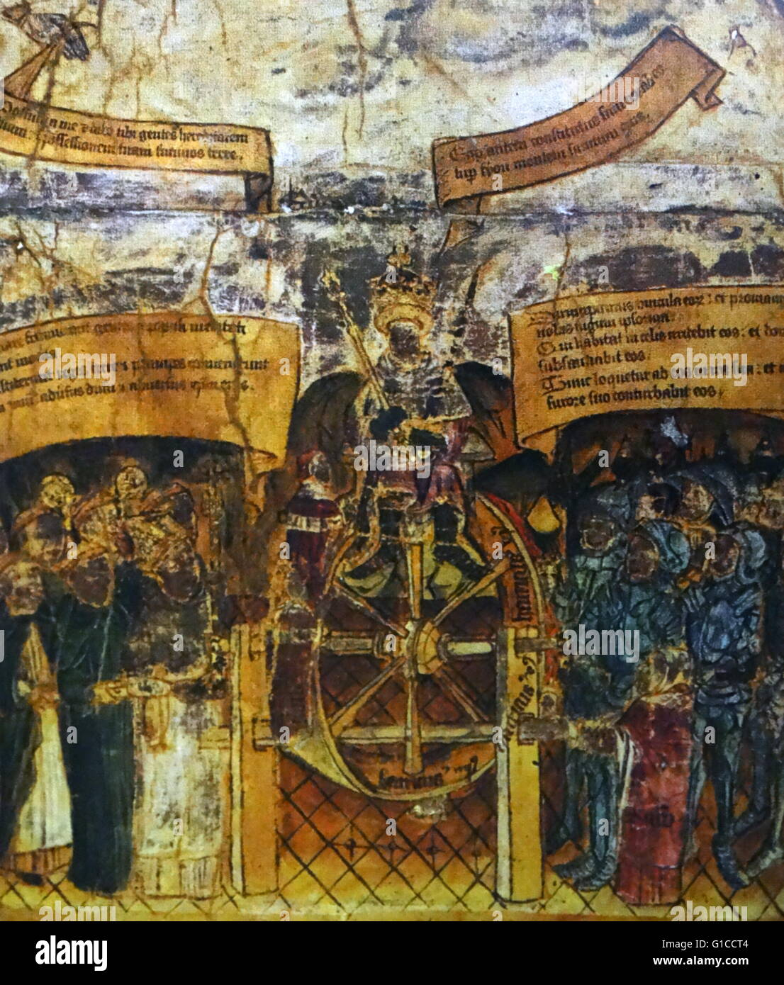 Fresco depicting Edward IV seated upon the wheel of fortune - Stock Image