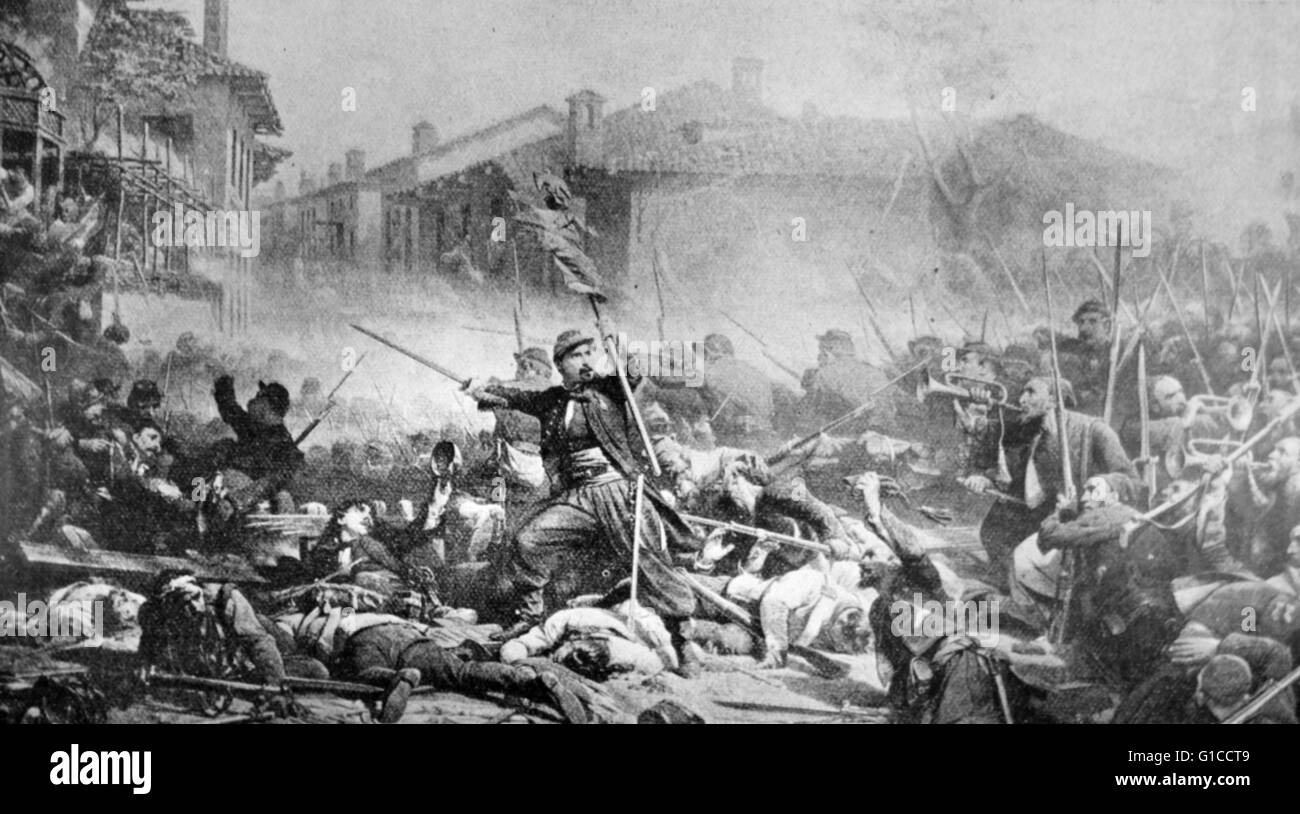 Engraving depicting the Battle of Magenta, fought during the Second Italian War of Independence, resulting in a - Stock Image