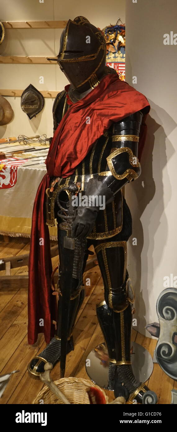 Suit of armour worn by an actor in a Shakespearean play. Dated 17th Century - Stock Image