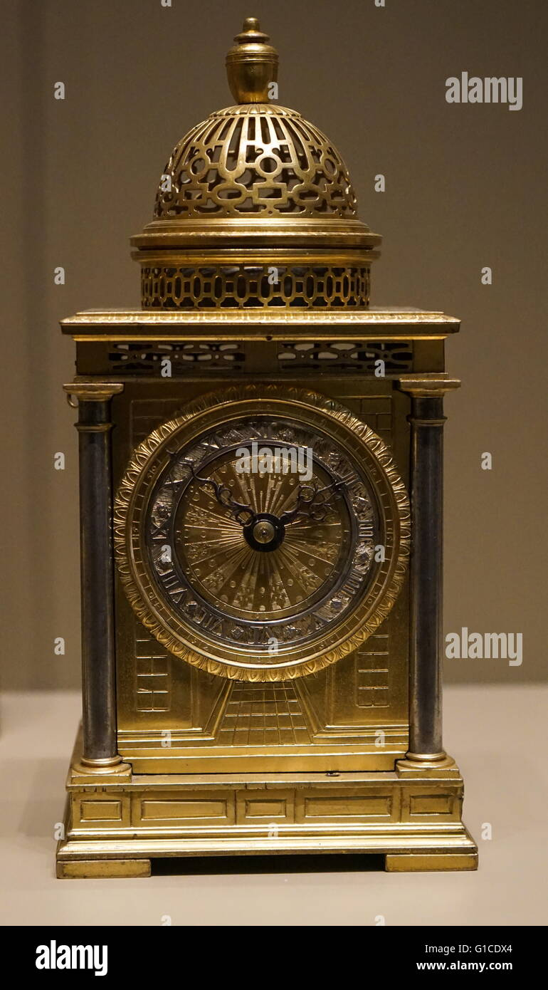 17th Century spring driven table clock. Dated 1600 - Stock Image