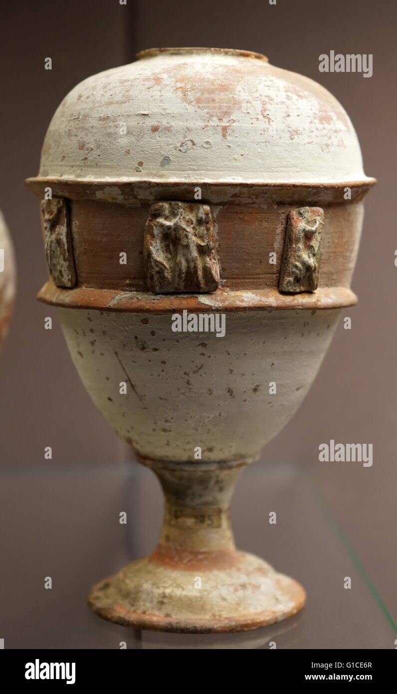 Oval pottery vessel with relief decoration, from Libya. Dated 200 BC - Stock Image