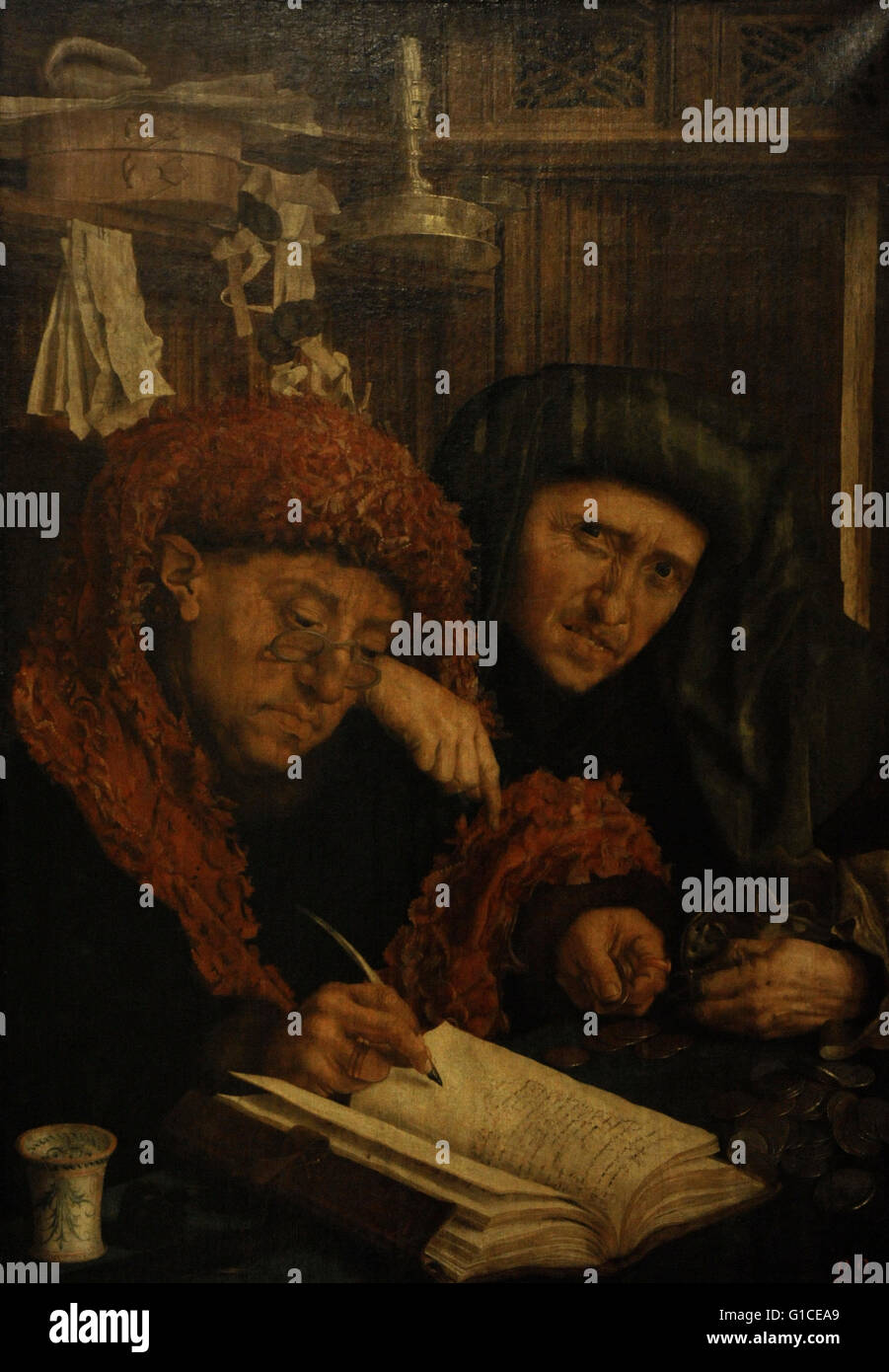 Marinus Claeszoon van Reymerswaele (c.1490–c.1546). Dutch painter. Tax-Collectors. Oil on canvas. The State Hermitage - Stock Image