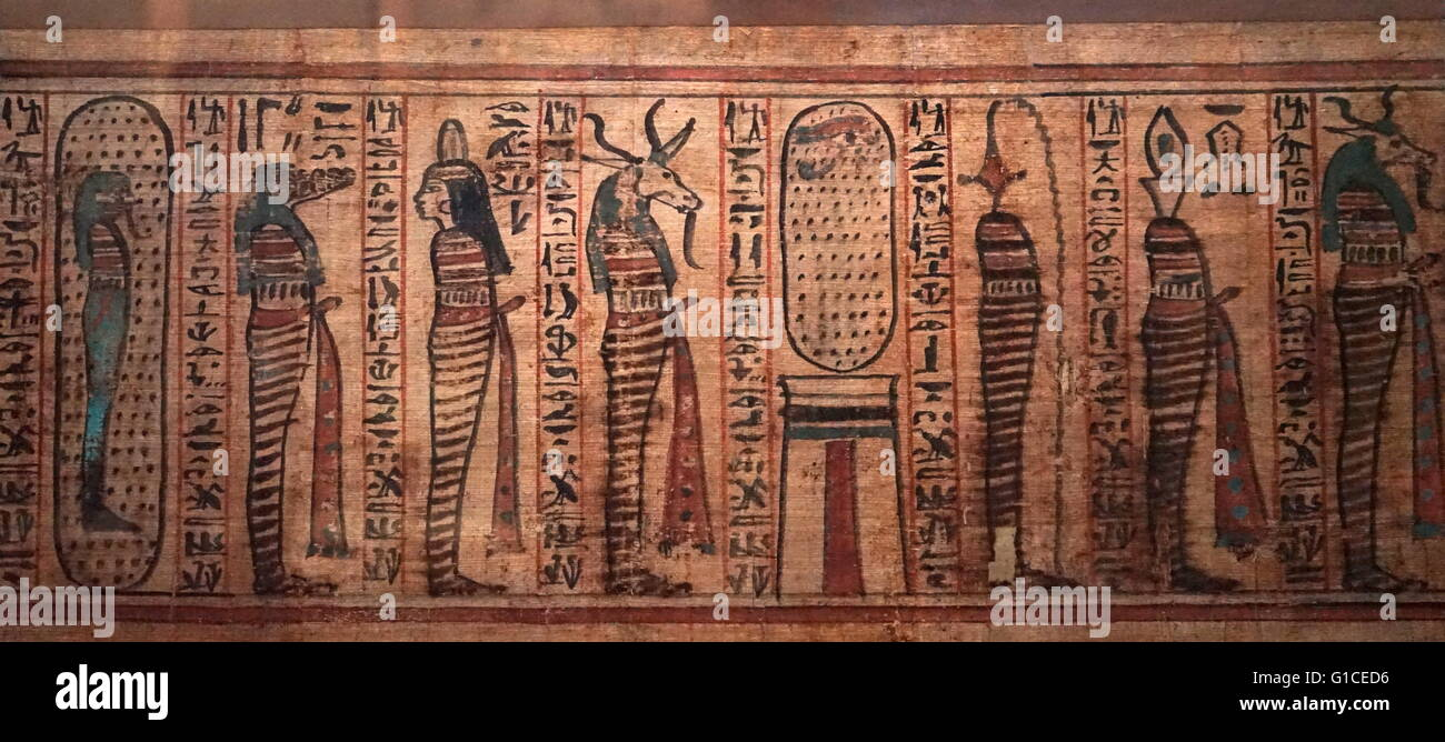 The Litany of Ra from the 21st Dynasty. Dated 1000 BC - Stock Image