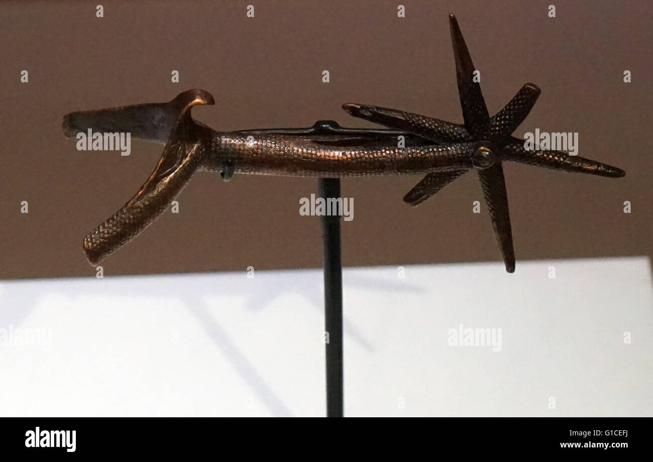 Rowel Spur found in the drained moat of the Tower of London. A spur is a metal tool designed to be worn in pairs - Stock Image