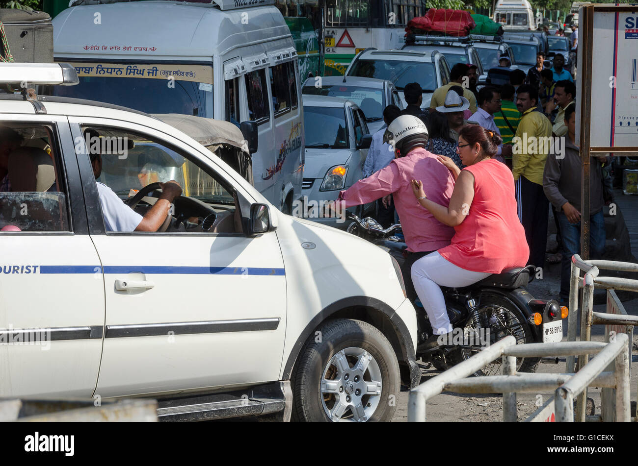 Traffic congestion, Manali, Himachal Pradesh, India, - Stock Image