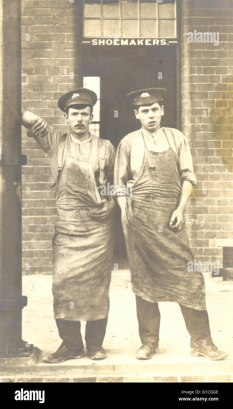 Portrait postcard of two army farriers - Stock Image