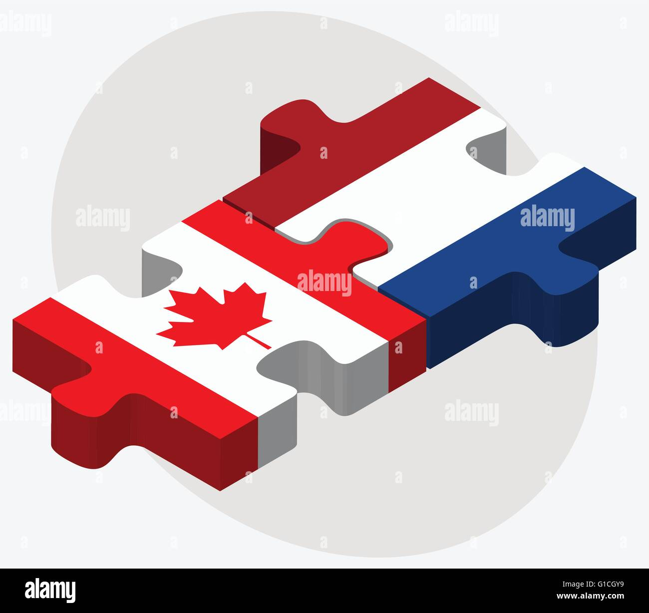 Vector Image - Canada and Netherlands Flags in puzzle isolated on white background - Stock Vector