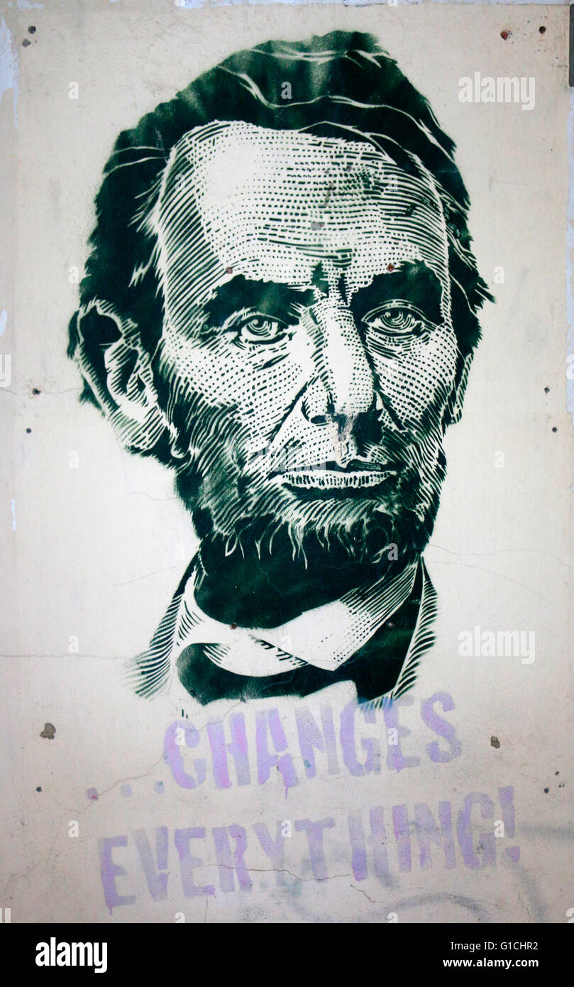 Abraham Lincoln-Graffity, Berlin. - Stock Image