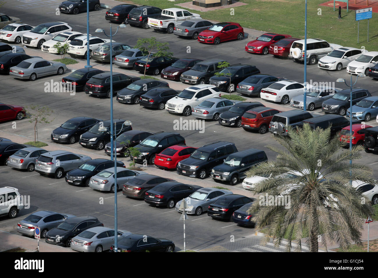 Aerial View of Parked Cars in Parking Lot.  United Arab Emirates. - Stock Image