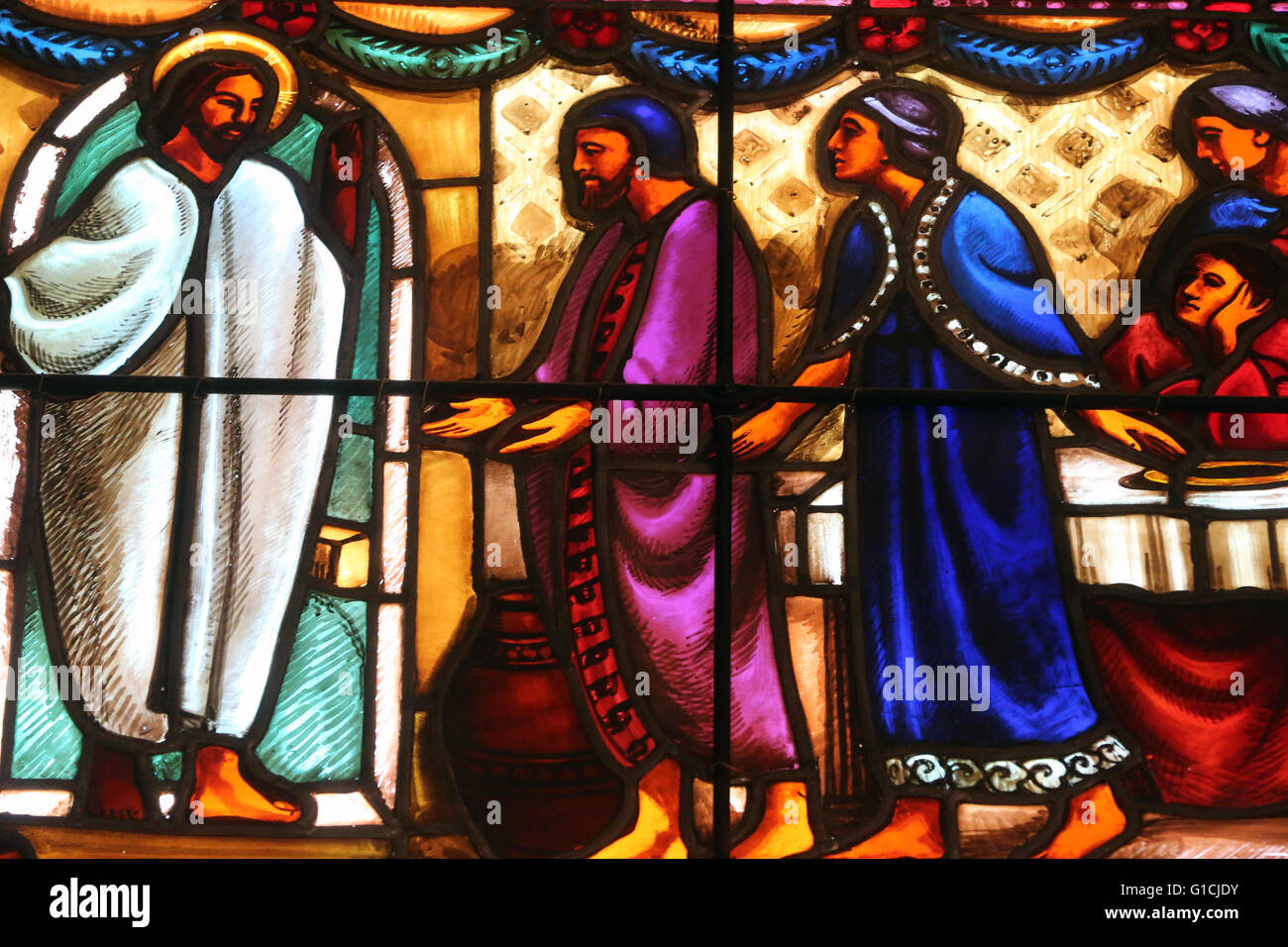 Carouge protestant temple.  Stained glass window. John 2:2 Jesus also was invited to the wedding with his disciples. - Stock Image