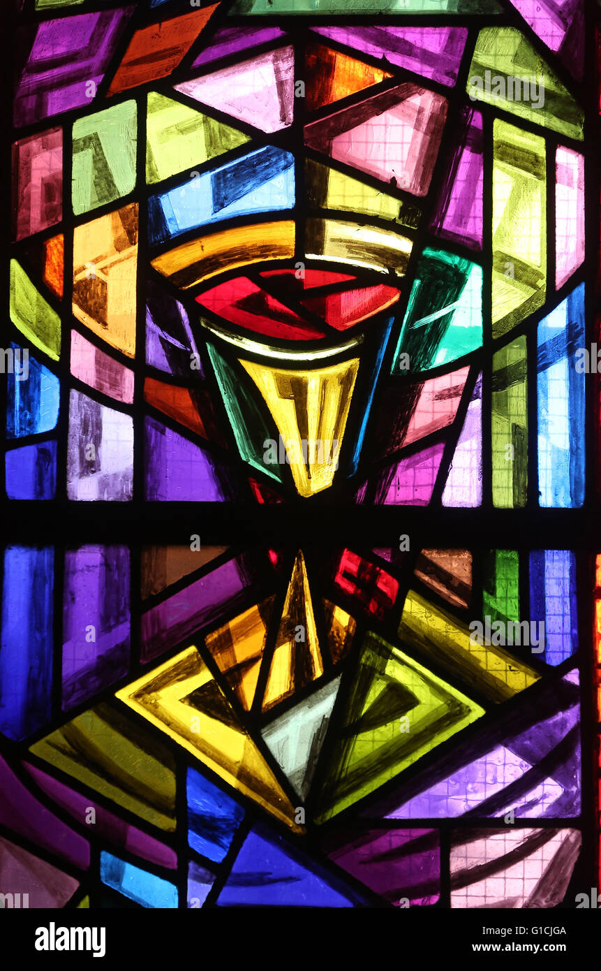 Church Stained Glass Window Square Rainbow