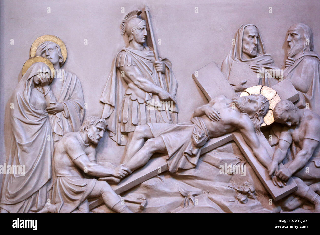 Basilica Notre-Dame of Geneva. The passion of Jesus Christ. The crucifixion.  Geneva. Switzerland. - Stock Image